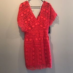 Lulu's red crochet lace dress Sz M
